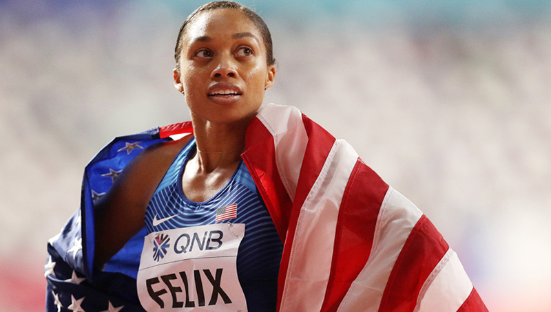 Olympic sprinter Allyson Felix breaks record held by Usain Bolt 10 months after giving birth