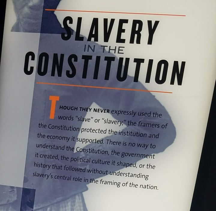 """A photo the author took at the """"The Mere Distinction of Colour"""" slavery exhibit at James Madison's Montpelier in 2018."""