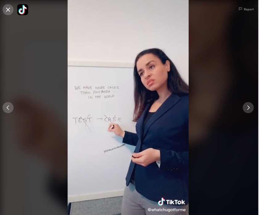 Sarah Cooper performs her impersonation of President Trump in a video posted to her TikTok account whatchugotforme.
